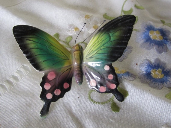 RESERVED for Gary Porcelain China Hand Painter Butterfly Clip