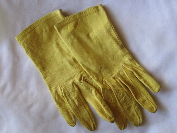 Pair of Vintage Yellow Kid Leather Gloves