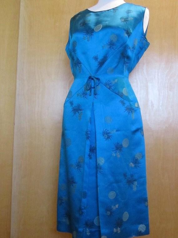 1960's Vintage Peacock Blue Satin Brocade Asian Wiggle Dress
