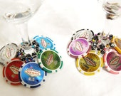 Las Vegas real clay POKER CHIP and dice Wine Charms -- One set of 10 wine charms