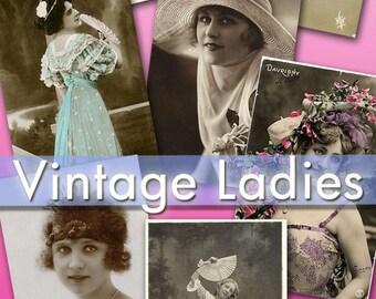 Digital collection Vintage Ladies 330 images scrap cards label decoupage lady romantic 1900 ephemera hat moda fashion portrait love / C133