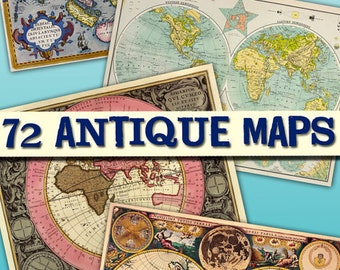 Collection Antique Maps download collection old ancient World miscellany ephemera card large size vintage card book hemisphere / C153