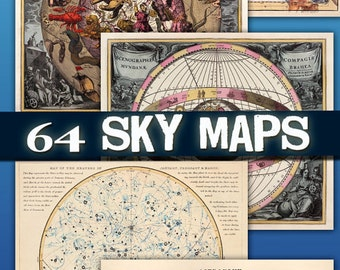 Images Antique Maps of the Sky download collection card space old ancient miscellany ephemera card large size vintage book / C154