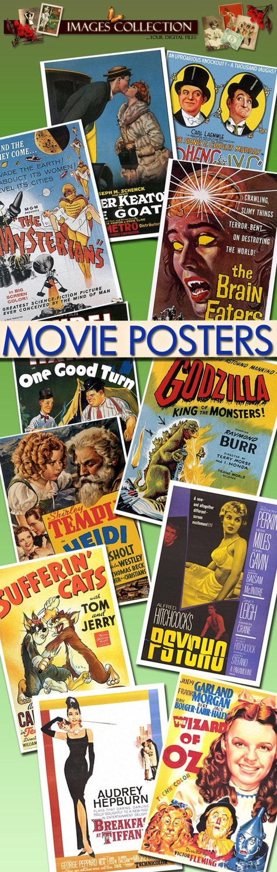 Digital collection images Movie Posters -Part.1- 700 Jpeg files scrap cards labels art cinema actors actresses vintage film posters / C121
