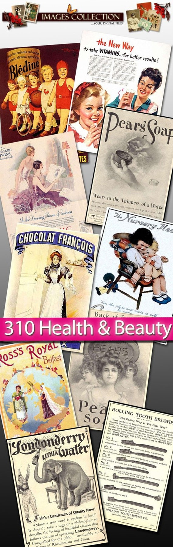 Digital collection Health and Beauty images cream ads soap advertising ephemera household barber tooth brush shampoo talc poster / C141