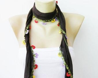 Brown turkish yemeni /hand crocheted lace border ,triangel
