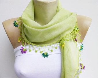 Scarf,Shawl,Turkish  oya scarf/ Green  hand crocheted lace scarf