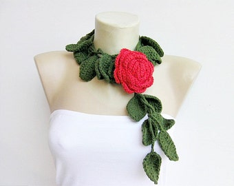 Red  rose crochet jewelry,crochet pendant , crochet necklace with REMOVABLE  flower