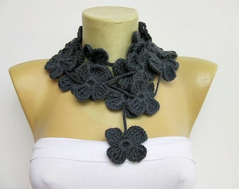 crochet lariat ,flower scarf ,in dark grey