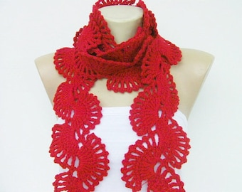 Crochet scarf ,red long scarf,womans sarf,winter scarf
