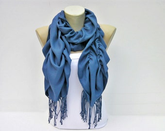 Ruffle scarf  ,Pashmina fabric scarf in Blue