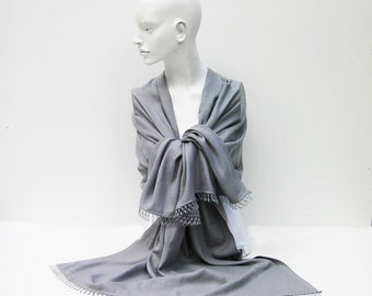 Pashmina scarf  ,grey bridal gift ,with handmade needle lace,