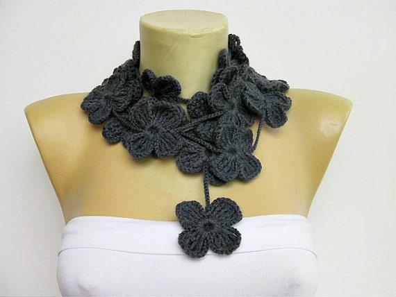 crochet lariat ,flower scarf ,in dark grey