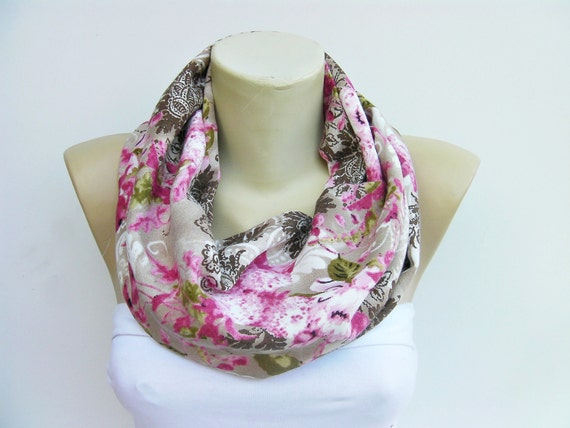 Infinity scarf,Loop scarf / neckwarmer ,flowered,woman scarf