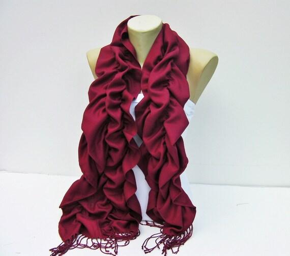 Scarf,Ruffle scarf  ,Pashmina fabric scarf in Bordeux ,CHOOSE A COLOR