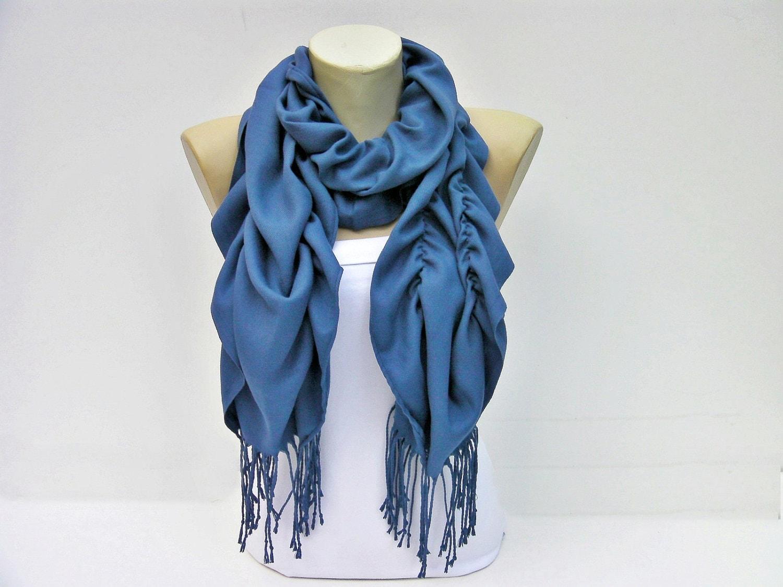 ruffle scarf pashmina fabric scarf in blue
