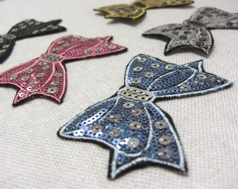 Heat Seal Sequin Bow Patches