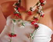 Hand Crocheted christmas necklace