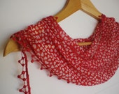 New... Red Scarf with Little Hearts