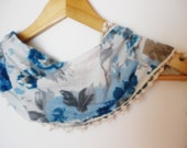 Blue Scarf with lace