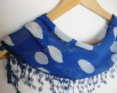 scarf with lace- blue polka dot