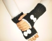 Hand Crochet Fingerless Gloves mittens black white with bow tie