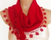 BIG DISCOUNT New Design Pashmina scarf with lace- red