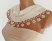 BIG DISCOUNT New Design Pashmina scarf with lace ivory cream