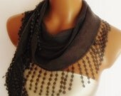 BIG DISCOUNT New Design Pashmina scarf with lace dark grey gray