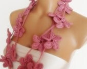 hand crocheted floral scarf lariat  necklace soft pink baby pink mothers day gift