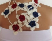hand crocheted floral scarf lariat necklace red white blue patriotic 4th of july