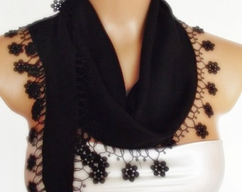 BIG DISCOUNT New Design Pashmina scarf with lace black scarf