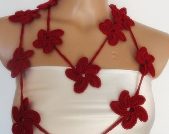 red-burgundy hand crocheted floral scarf lariat necklace
