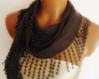 BIG DISCOUNT New Design Pashmina scarf with lace dark grey gray
