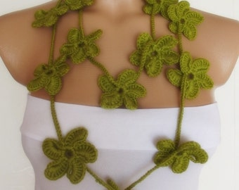 hand crocheted floral scarf lariat green