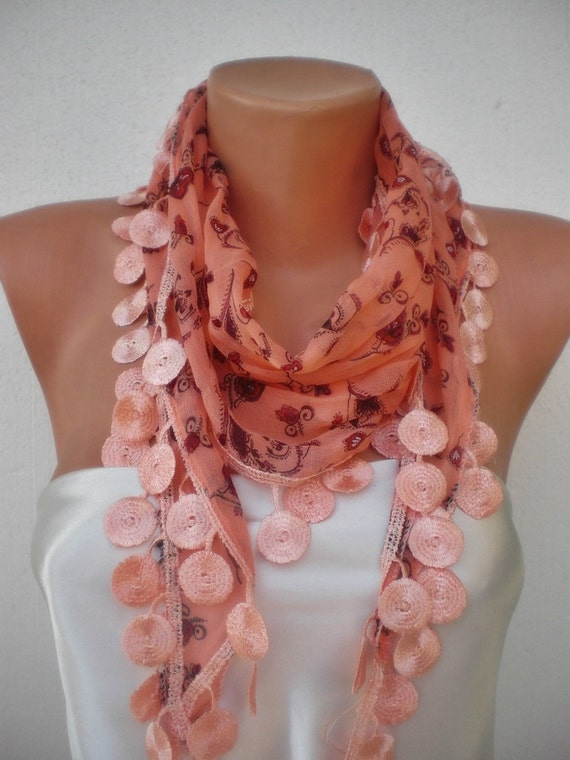 Coral-Flowered cotton scarf