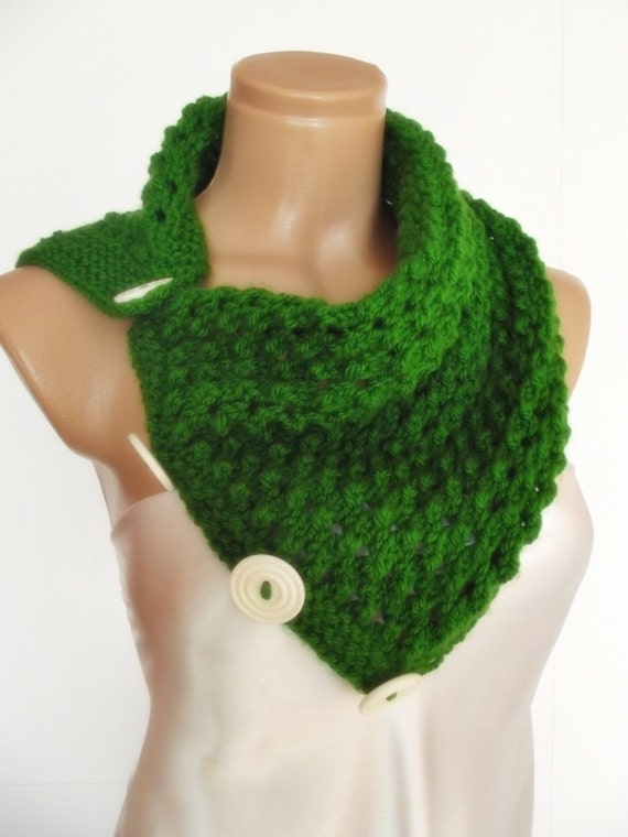 SALE Womens Mens unisex neckwarmer cowl scarf valentines day gift  for him ready to ship green with white  buttons
