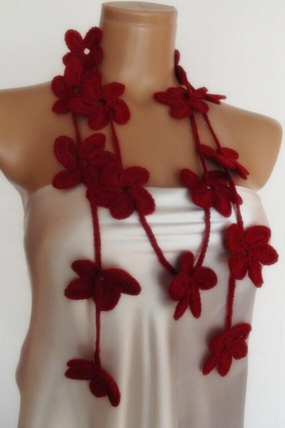hand crocheted floral scarf lariat necklace burgundy dark red