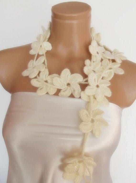 angora hand crocheted floral scarf lariat 230 cm necklace ivory cream wedding bridal