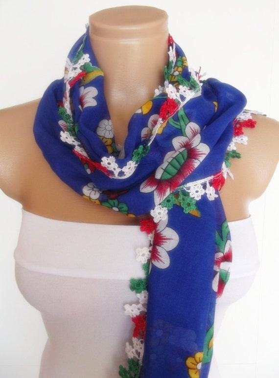 turkish traditional cotton rectangle scarf new design flowered pattern red white sax blue green