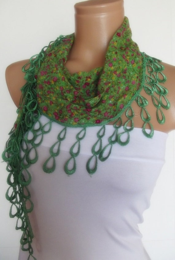 2012 summer fashion cotton scarf with lace new design green floral