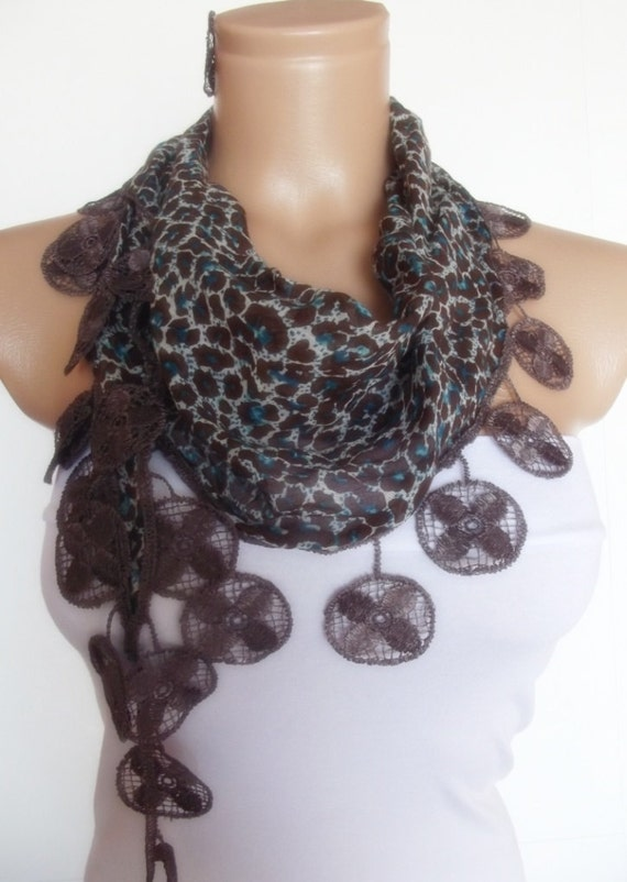2012 summer fashion scarf with lace new design animal pattern brown green
