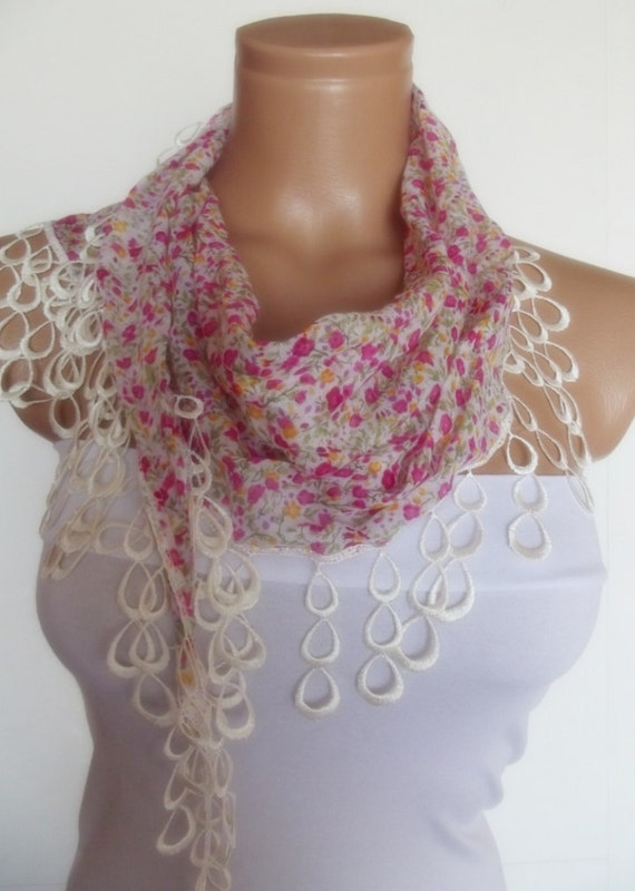 2012 summer fashion scarf with lace new design floral red white