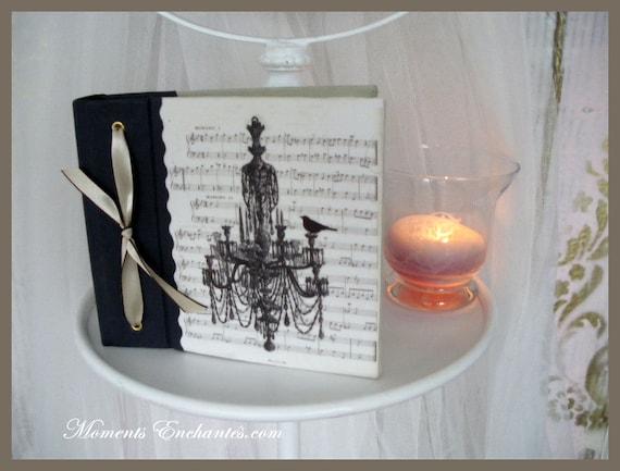 "Saint Valentin Album photo ""L'oiseau et sa partition"" ""the bird"" french linen french made paper vintage nice present for christmas"