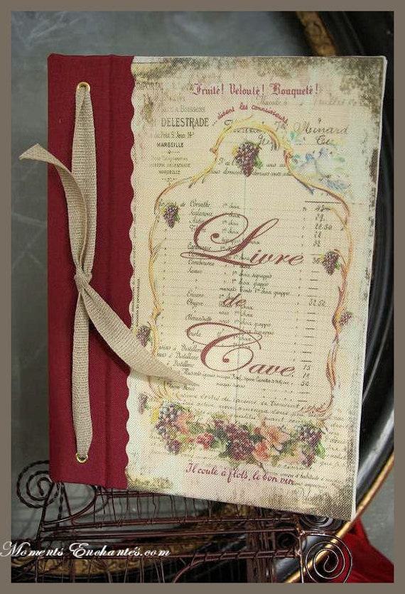 Wine book very nice journal write in French bunch of grapes fruit vintage pictures organize cellar
