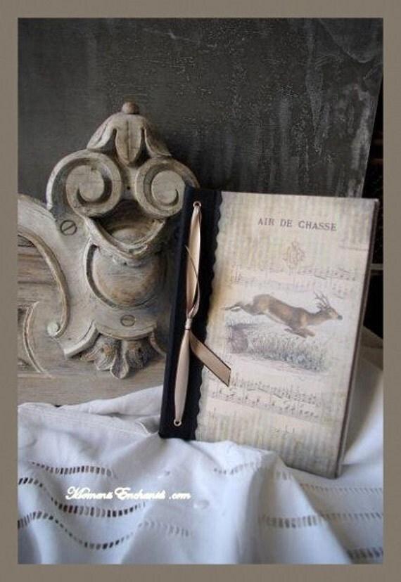 Hunting venery book very nice journal write in French  vintage pictures roe deer