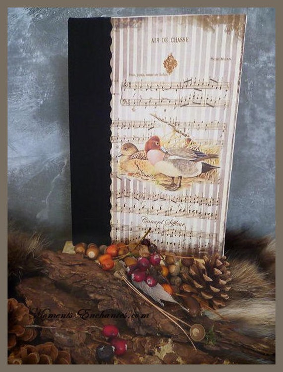 Hunting venery book very nice journal write in French  vintage pictures Chirping duck