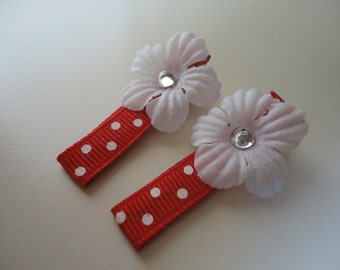 Adorable red and white flower hair clips