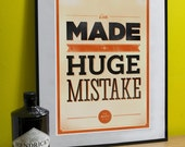 """Arrested Development Art Print (Huge Mistake) A3 or to fit Ribba frame 16.5"""" x 20.5"""""""