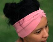 LAST PIECE Dusty Pink Twist Turban Headband, Spring trends, Boho style, Wide headwrap, Yoga wear